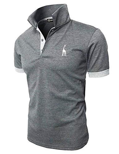 GHYUGR Polo Uomo Basic Manica Corta Tennis Golf T-Shirt Ricami Fulvi Maglietta Poloshirt Camicia,Grigio Scuro,XL