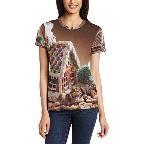 Lebkuchenhaus und Keks Damen Casual T-Shirt Kurzarm Tunika Tops Rundhalsausschnitt Bluse Bequem Gr. X-Large, Bm002