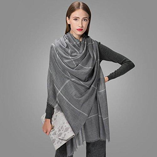 YQQ-écharpe Femme Double Face Treillis Châle Garde Au Chaud 90 * 200cm (Couleur : Gray)