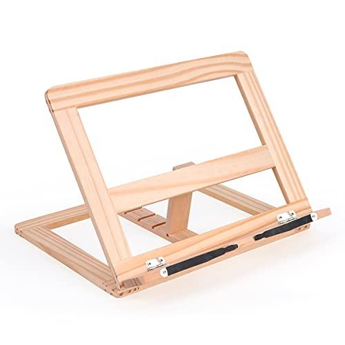 MOMSIV Wooden Adjustable Book Stand Cookbook Holder Reading Desk