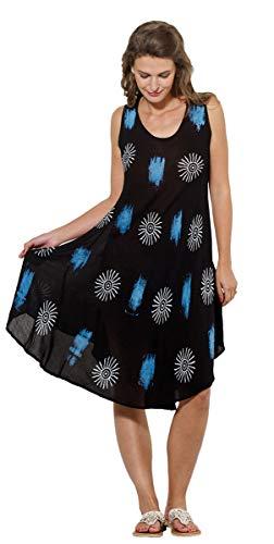 Coline Afrikanisches schwarzes Kleid,Volles Kleid aus Viskose (Schwarz, One Size)
