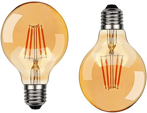 XKUN Paquete de 2 Bombillas Retro de Filamento Retro No Regulable de 6 W, Equivalente a 60 W, Luz Amarilla Cálida de 2200 K, Base de Ángulo de Haz de 360 ° 220 V