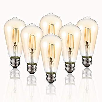 Vintage Edison LED Bulb 6-Pack ST58 E26 40 Watt Equivalent Warm White 2200K-2700K Antique Vintage Style Light Squirrel Cage Filament Edison Light Bulbs Amber Glass,Non Dimmable