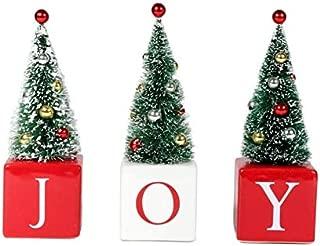 DEI Vintage Inspired Christmas Holiday Joy Blocks with Bristle Brush Trees, Set of 3