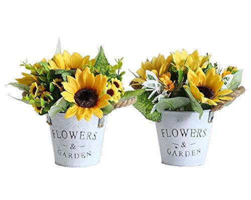 Hylulu Kunstblumen im Topf 2er Set, Künstliche Sonnenblumen Gelb Blumen Kunstpflanze Deko Indoor Tischdeko Hochzeit Wohnzimmer Fensterbank Deko