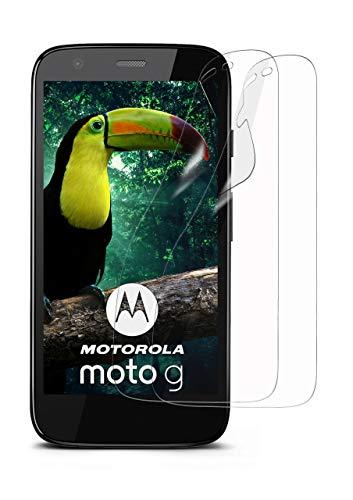 MoEx® Kristallklare HD Schutzfolie kompatibel mit Motorola Moto G | Displayschutzfolie Kratzfest + Fast unsichtbar, Ultra Klar 2X Stück