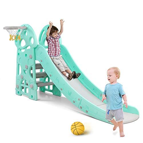 Bamny Rutsche Kinder, Fun-Slide mit Basketballkorb, für drinnen und draußen, standfest und sicher (bis 20Kg)