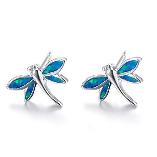 U/K Stud Earrings White/Blue Gem 925 Sterling Silver Dragonfly Shape Earrings Platinum Plated for Girls (Color : 1)