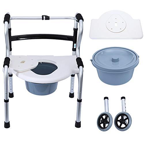 Gehhilfe,Gehhilfefür ältere Menschen,klappbarer Booster,Faltbarer Booster mit Sitz und Rad, (8 verstellbar) + gebogenes Bidet + Bettpfanne + Rollen