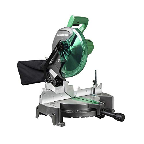 "Metabo HPT Compound Miter Saw, 10-Inch, Single Bevel, 15-Amp Motor, 0-52° Miter Angle Range, 0-45° Bevel Range, Large Table, 10"" 24T TCT Miter Saw Blade (C10FCGS)"