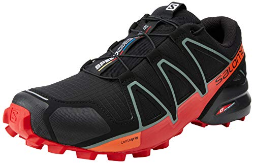 SALOMON Speedcross 4, Zapatillas de Trail Running Hombre, Negro (Black/Goji Berry/Red Orange), 44 EU