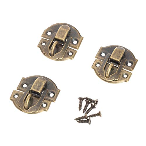 Door Cabinet Padlock Hasp Stainless Steel Padlock 12Pcs 27x29mm Antique Bronze Iron Latch Hasp Lock Decorative Jewelry Wine Wooden Box Home Furniture Buckle Clasp Lock with Screw