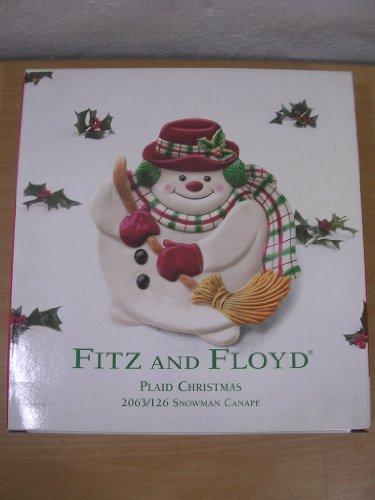 Fitz y Floyd Plaid Navidad muñeco de nieve canapés (
