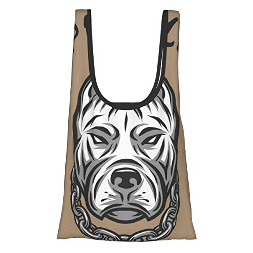 Reusable Grocery Bags The Head of A Pit Bull with A Chain Washable Waterproof Lightweight 25X15 inch