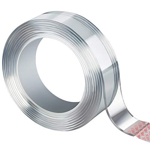 AIEX Waschbares Spurloses Klebeband, Durchsichtiges, Doppelseitiges, Nano Entfernbares Klebeband, Wiederverwendbare, Rutschfeste, Mehrfach Verwendbare Klebestreifen (Transparent, 2mm/3m, 1 Rolle)