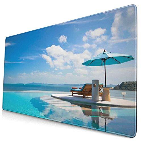 Große Gaming Mouse Pad Strandkorb mit Sonnenschirm auf privatem Pool Meerblick Urlaub Rechteck Dekorative rutschfeste Gummibasis Mousepad für Arbeit, Spiel, Büro, Zuhause