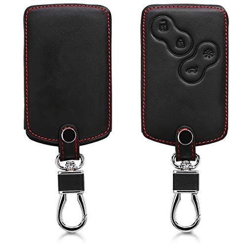 kwmobile Accessoire Clef de Voiture Compatible avec Renault 4-Bouton (Keyless Go Uniquement) - Coque de clé de Voiture en Simili Cuir - Noir