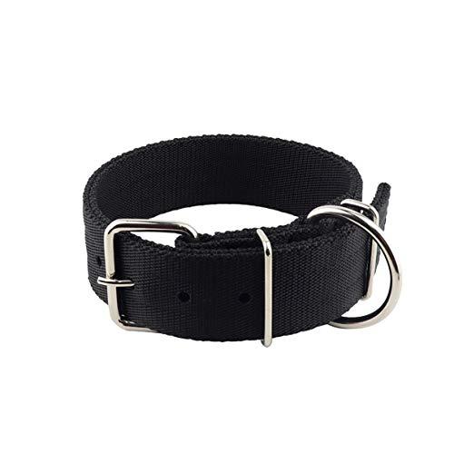 Yunleparks Hundehalsband, strapazierfähiges Nylon, Dickes Hundehalsband mit Edelstahlschnalle für mittelgroße und große Hunde, 4,4 cm breit, L, schwarz