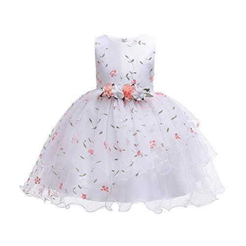 TAAMBAB Mädchen Lace Tutu Kleider Prinzessin Pageant Flower Petals Bow Kleid Kinder Prom Ballkleid Chiffon Brautkleider für 2-14 Jahre