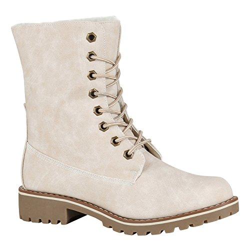 Gefütterte Damen Worker Boots Outdoor Stiefeletten Schuhe 148899 Creme Matt 42 Flandell