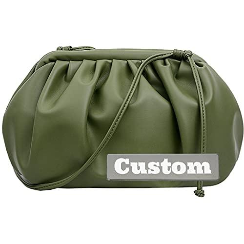 NANSHAN Nome Personalizzato Borsa con Cerniera Borsa in Pelle per Donne Borsa Leggera Tote Grande con Tasche (Color : Green, Taglia : One Size)