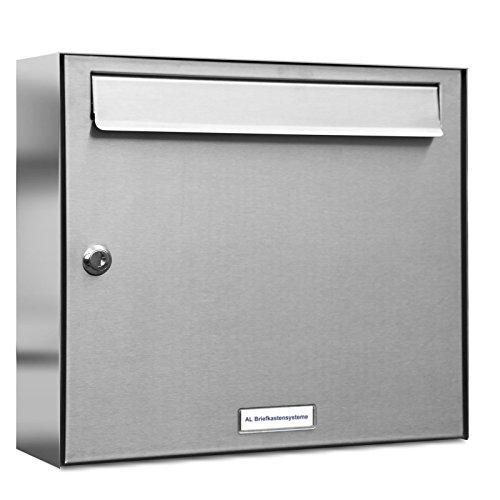 AL Briefkastensysteme 1er Briefkastenanlage Edelstahl, Premium Briefkasten DIN A4, 1 Fach Postkasten modern Aufputz