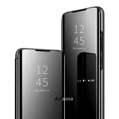 Avianna Smart Clear View Mirror Flip Magnetic Stand Case Cover for Samsung Galaxy M21 (Black, Samsung Galaxy M21 Sensor flip is not Working)