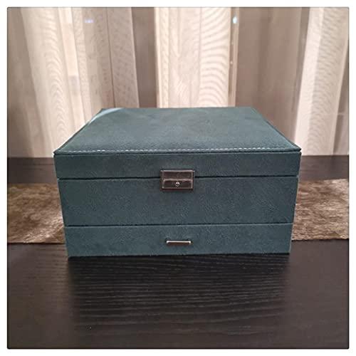 HDDFG Caja de Gran Capacidad Caja de Almacenamiento de Pendientes Retro Pantalla Verde Oscuro Estuches de Transporte de Franela de Doble Capa de Lujo