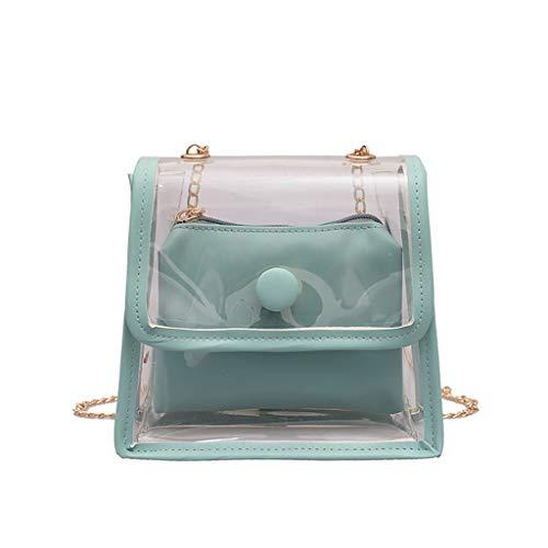 Sameno Clear Bag ✿ 2 in 1 Transparent Jelly Messenger Waterproof PVC Plastic Crossbody Shoulder Bag Chain Strap + Macarons Makeup Bag Girls Zipper Handbag, for Stadium, Concert and Daily Use