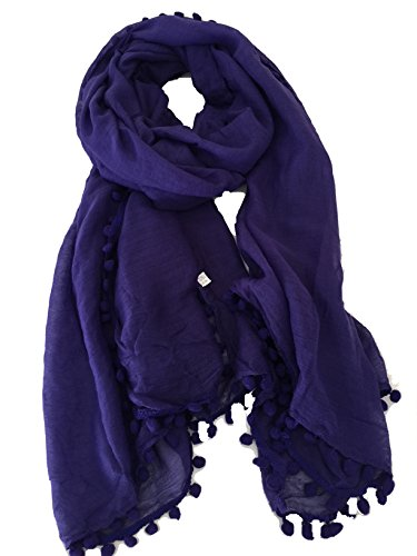 Pamper Yourself Now Dunkel lila schlicht Schal/Wrap mit Bommeln- Dark purple plain scarf/wrap with bobbles