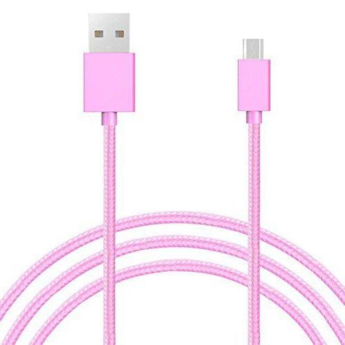 Galaxy SuperStore Cable Micro USB Trenzado de Nylon Carga Rápida y Sincronización - Rosado paraLenovo Moto B Smartphone