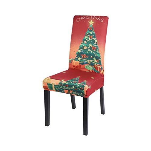 Hopereo 1/2/4/6Pcs Xmas Elastic Dining Room Seat Chair Covers Christmas Chair Cover Stretch Slipcovers For Christmas Party Decor-C3-4Pcs
