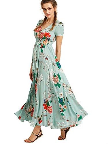 Milumia Women's Button Up Split Floral Print Flowy Party Maxi Dress Small Light Green