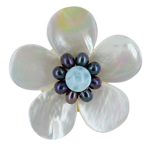 Joyas Les Poulettes - Broche Flor de Nácar Marfil Perlas Keshi y Larimar