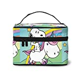 Make-up-Tasche, Snoopy mit Einhorn, tragbare Kosmetiktasche, große Tasche, Netz-Pinsel-Organizer,...