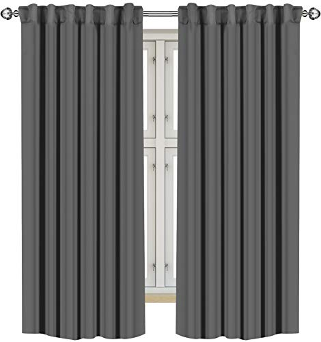 Utopia Bedding 2 Panels Blackout Curtains, W52 x L63 Inches, Grey, Thermal Insulated Window Draperies - 7 Back Loops per Panel - 2 Tie Backs Included