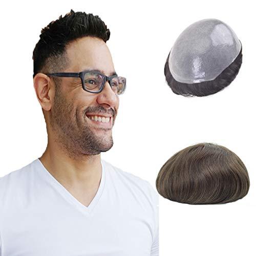 Lordhair Toupet für Männer 0.08mm Super Dünn Haut Haarsystem Leichte Mittlere Dichte Haarersatz (#4ASH)