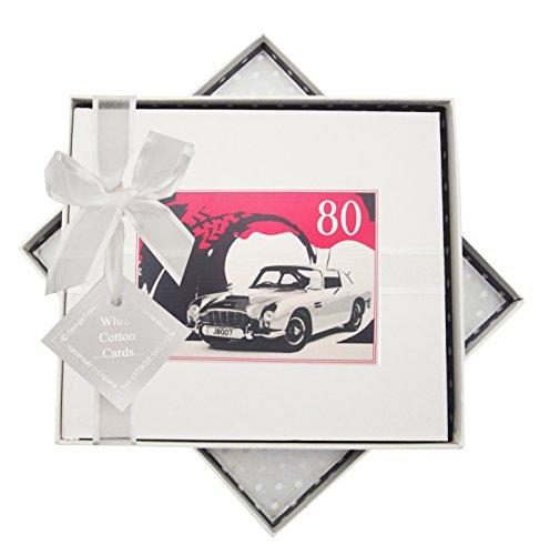 White Cotton Cards Carte d'anniversaire 80 Ans, Livre, Voiture Classique, Blanc