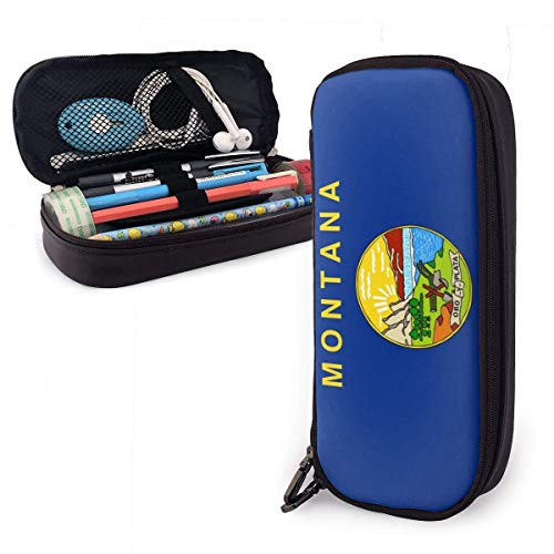 Montana tragbare Federmäppchen Niedliche Leder Stift Tasche Schreibtisch Schreibwaren Organizer mit Reißverschluss Große Kapazität Stifthalter