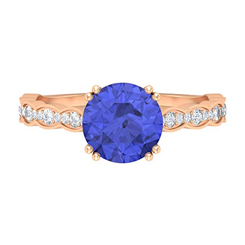 Anillo solitario de tanzanita de 8 mm creado en laboratorio, D-VSSI, anillo de moissanita, anillo solitario con piedras laterales, anillo de compromiso de oro (calidad AAAA), 14K Oro rosa, Size:EU 56