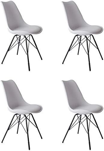 SAM 4er Set Schalenstuhl Lerche, weiß, integriertes Kunstleder-Sitzkissen, Schwarze Metallfüße, Esszimmerstuhl im skandinavischen Stil
