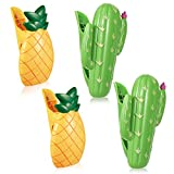 4 Pieces Beach Towel Clips Plastic Large Beach Towels Clips for Sun Lounger Beach Pool Lounge Chair Holder Cruise Clothes Lines Pineapple Cactus Decorative Travel Clip