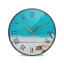 Wall Clock Silent & Non Ticking Teal Blue Wood Modern Quartz Wall Clock Office Decor Clocks Metal Frame Glass Cover