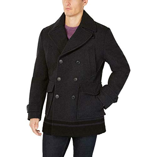 Calvin Klein Wool Peacoat with Color Blocked Hem Charcoal MD