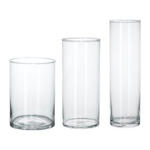 IKEA CYLINDER -Vase Set von 3 Klarglas