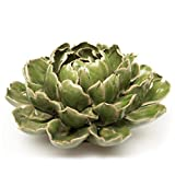 Chive - Ceramic Decorative Flower, Table Top and Wall Hanging, Unique Tablescape and Wall Art Installation (Large Green Flower)
