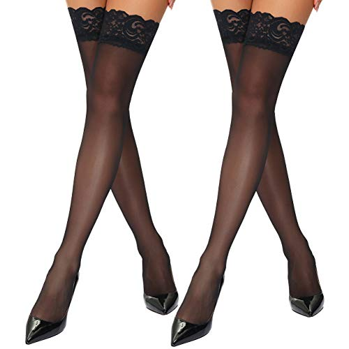 Lidogirl Hold Up Stocking Lace Top Stay Up Sheer Stockings Silk Hosiery...