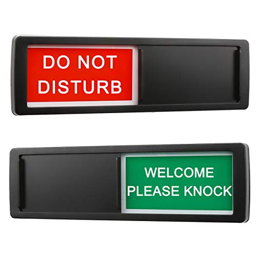 Privacy Sign,Do Not Disturb Welcome Please Knock Sign for Home Office Restroom Conference Hotel Hospital,Non-Scratch Magnetic Slider Privacy Indicator Sign,7'' x 2''-Black
