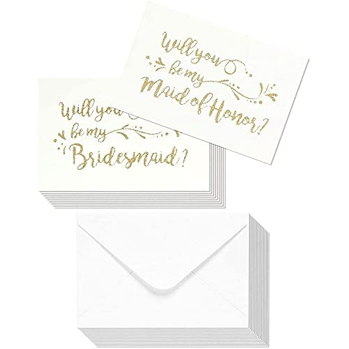 Will You Be My Bridesmaid Cards with Envelopes (12 Pack) Gold Glitter, Bridesmaid Proposal Card