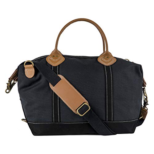Tag&Crew Solid Signature Duffle Bag, Large, Made of 20 oz. Heavy Cotton Canvas, Size 15 H x 28 W x 10 D Inches - Black
